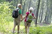 Portrait of a senior couple hiking