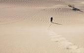 Hike in sand desert