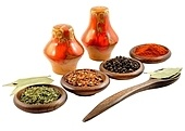 arangement of spices on a white background