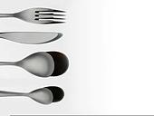 set of tableware on white background, hard lighting