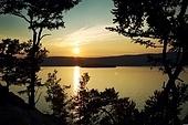 Night landscape against a decline lake Baikal