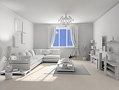 the classic blank interior with beautiful red flowers (3D)