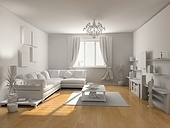 the classic blank interior with beautiful parquet (3D)