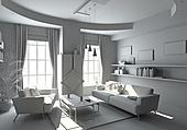 modern white interior ( 3d rendering )