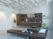 the modern kitchen interior design (3D rendering)