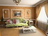 modern classic interior design (private apartment 3d rendering)