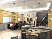 modern interior design (privat apartment 3d rendering)