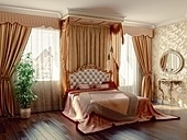 classic style modern bedroom interior (3D rendering)