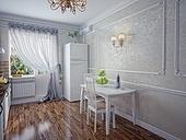 Kitchen in modern home interior (rendering)