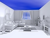 the open blank interior over blue sky background (3D)