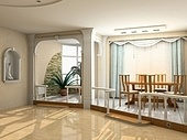 modern interior design in classic style (privat apartment 3d rendering)