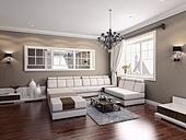 living-room modern interior (3D rendering)