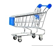 empty shopping cart, cut out from white