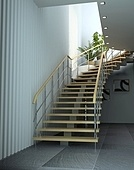 modrn interior with stair (3d rendering)