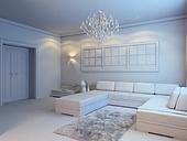 modern living room interior in white style