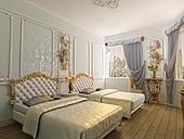 two-bed luxury room (3D rendering)