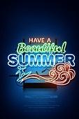 네온, 여름, 라벨