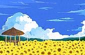 여름, 백그라운드, 풍경, 휴가