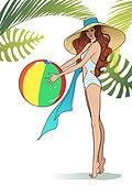 비키니, 휴가, 여성, 여름