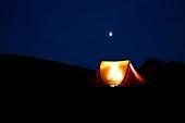 달빛 야영 텐트 일몰