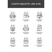 4차 산업 라인 아이콘