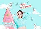 여름, 비키니, 여성