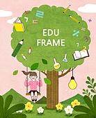 교육, 어린이, 프레임, 상상력