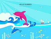 여름 바다 백그라운드 일러스트