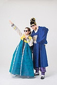 Korean men and women in traditional costumes