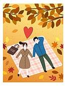 가을, 커플, 이벤트, 사랑