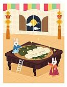 추석, 명절, 토끼, 한국전통