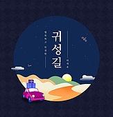 명절, 보름달, 귀성길, 자동차