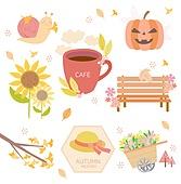 가을, 아이콘, 스티커, 이벤트, 계절