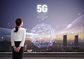 한국인, 그래픽이미지, 5G, 도시, 컴퓨터네트워크 (컴퓨터장비), 비즈니스우먼