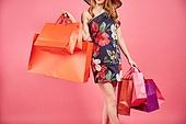 한국인, 여성, 패션, 쇼핑, 쇼핑백, 몸통 (몸)