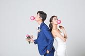 한국인, 결혼, 신랑, 신부 (결혼식역할), 웨딩드레스 (드레스), 풍선껌 (사탕), 불기, 행복