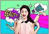 뷰티, 미용제품 (몸단장제품), 팝아트, 컬러풀, 아름다움 (주제)