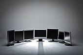 컴퓨터모니터 (개인용컴퓨터), 여러개[6-10] (그룹[오브젝트]), 무더기 (배열), 재활용 (환경보호)