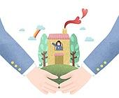 일러스트, 보험 (사고보험), 복지, 사회봉사, 도움 (컨셉), 가정생활 (주제)