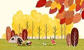 가을, 캠핑, 취미, 단풍 (가을), 텐트