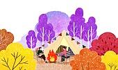 가을, 캠핑, 취미, 단풍 (가을), 모닥불 (불), 커플