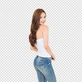 누끼, 뷰티, 여성, 청바지, 한국인, 파워포인트 (이미지), PNG