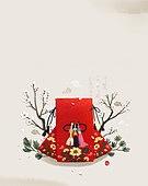 전통문화 (주제), 새해 (홀리데이), 선물 (인조물건), 복주머니 (한국문화)