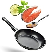 Salmon Cooking Ingredients On White Background