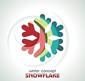 Shiny 3d Snowflake Icon, vector illustration.