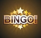 """Bingo"" banner with golden stars, vector illustration."