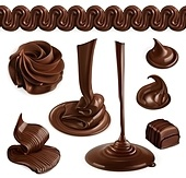 Chocolate, cocoa butter, whipped cream, pastry and desserts, set of vector graphic, mesh objects