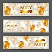 Celebration party banners with golden balloons and serpentine. Greeting, invitation card or flyer