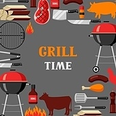 Bbq time background with grill objects and icons