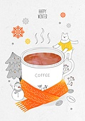 일러스트 (이미지), 겨울, 백그라운드, 우편엽서 (편지), 눈 (얼어있는물), 커피 (뜨거운음료), 목도리